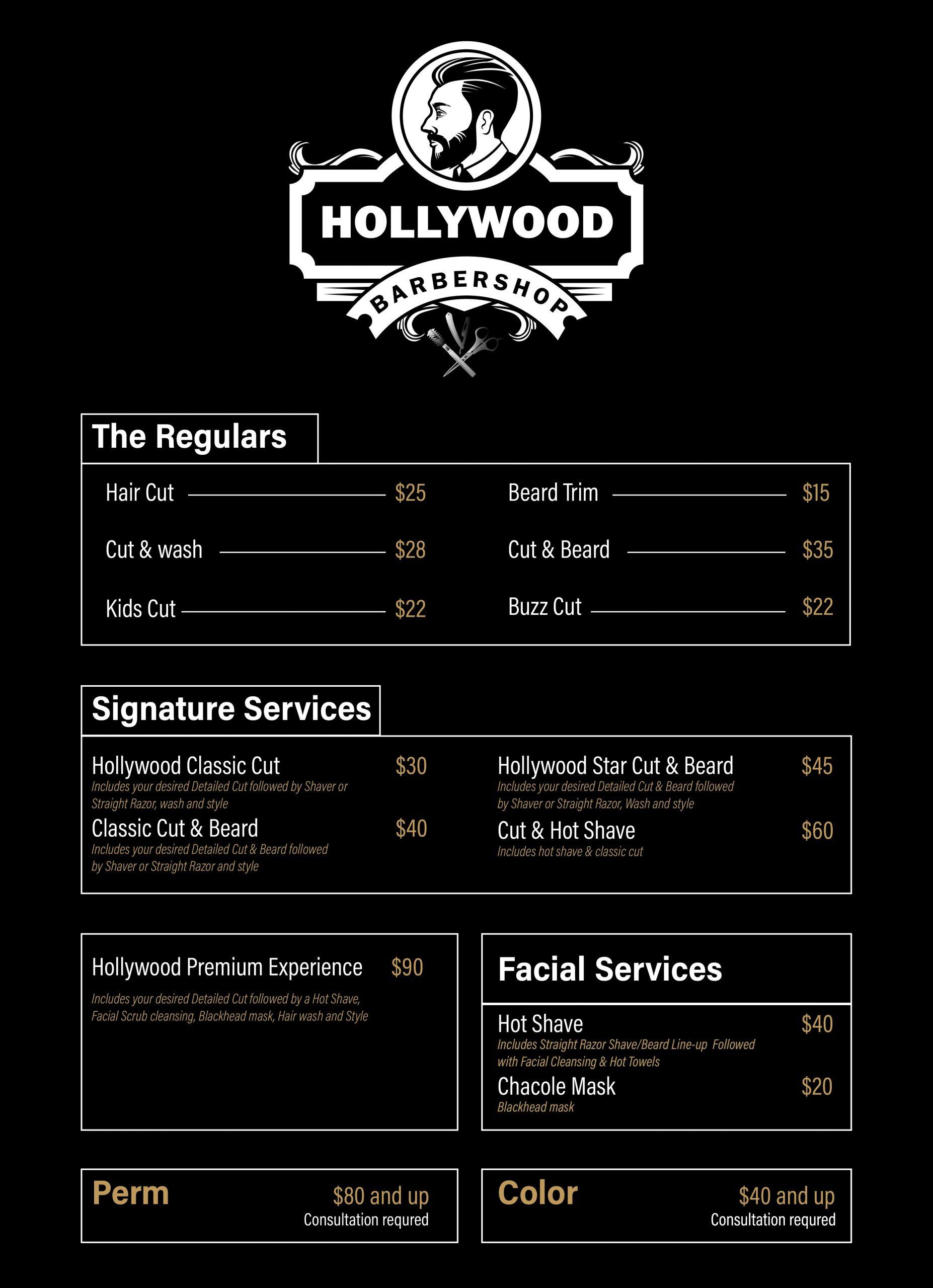 Hair Salon Price list